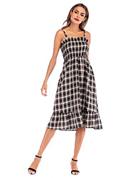 cheap -Women's Daily Going out Street chic Shift Dress - Check Ruffle Black S M L XL