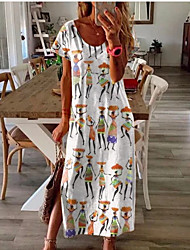 cheap -Women's Sundress Maxi long Dress - Short Sleeves Graphic Print Summer Casual Holiday Vacation Loose White Blue Blushing Pink Light Purple Fuchsia S M L XL XXL XXXL