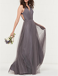 cheap -A-Line V Neck Floor Length Tulle Beautiful Back / Grey Engagement / Prom Dress with Pleats 2020