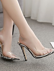 cheap -Women's Heels Stiletto Heel Pointed Toe PU Spring & Summer White / Brown