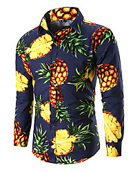 cheap -Men's Fruit Pineapple Print Shirt Going out Work Blue / Blushing Pink / Navy Blue / Fall / Long Sleeve