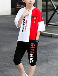 cheap -Kids Boys' Basic Daily Wear Black & White Print Color Block Patchwork Short Sleeve Regular Regular Clothing Set Red