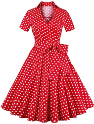 cheap -Women's A Line Dress - Polka Dot Solid Color Wine Red S M L XL