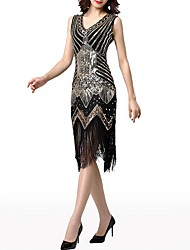 cheap -The Great Gatsby Charleston Sheath / Column Roaring 20s 1920s Fashion Party Wear Cocktail Party Dress V Neck Sleeveless Knee Length Polyester with Crystals Tassel 2020