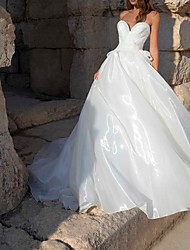 cheap -A-Line Wedding Dresses Sweetheart Neckline Sweep / Brush Train Polyester Sleeveless Country Plus Size with Bow(s) 2020