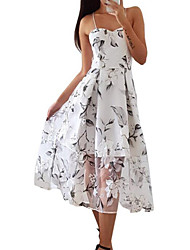 cheap -Women's Daily Holiday Sexy Street chic Maxi A Line Dress - Floral Backless Print White S M L XL