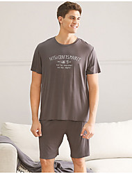 cheap -Stay Cation Men's Suits Nightwear Black Brown Light gray L XL XXL