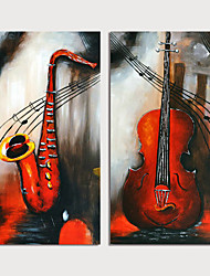 cheap -Hand Painted Canvas Oilpainting Abstract Still Life Set of 2 Home Decoration with Frame Painting Ready to Hang