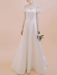 cheap -A-Line Off Shoulder Floor Length Chiffon Over Satin Short Sleeve Beach Wedding Dresses with Bow(s) 2020