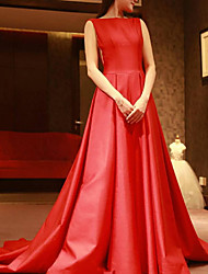 cheap -A-Line Elegant Red Engagement Formal Evening Dress Boat Neck Sleeveless Court Train Polyester with Pleats 2020