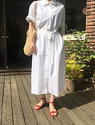 cheap -Women's Maxi Loose Dress - Long Sleeve Solid Color Shirt Collar Loose White Light Green Light Blue One-Size