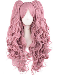 cheap -Synthetic Wig Curly Halloween Asymmetrical Wig Pink Long Pink Synthetic Hair 28 inch Women's Best Quality Pink