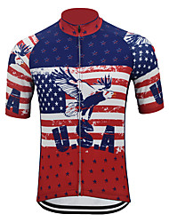 cheap -Adults Short sleeved Motorcycle Clothing Motorcycle Suit Motorcycle Jersey with American Flag USA color