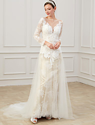 cheap -Sheath / Column Wedding Dresses Jewel Neck Sweep / Brush Train Lace Tulle Long Sleeve Formal Boho Plus Size Illusion Sleeve with Draping Appliques 2020