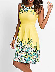 cheap -Women's A Line Dress - Sleeveless Floral Print Spring & Summer Elegant 2020 Blue Yellow Fuchsia S M L XL XXL