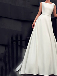 cheap -A-Line Jewel Neck Floor Length Satin Sleeveless Beach Wedding Dresses with Sashes / Ribbons 2020