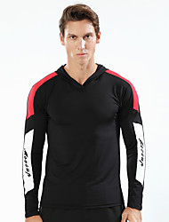 cheap -Men's Patchwork Hoodie Sweatshirt Running Shirt Long Sleeve Breathable Quick Dry Soft Running Walking Jogging Sportswear Top Black Royal Blue LightBlue Activewear Stretchy