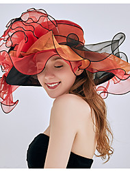 Недорогие -Жен. Классический Шляпа от солнца Сетка Шифон,Однотонный Розовый Красный Синий