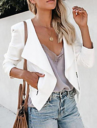 cheap -Women's Blazer, Solid Colored Notch Lapel Polyester White / Black