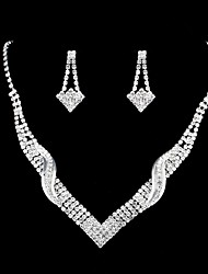 cheap -Women's Synthetic Diamond Jewelry Set Classic Stylish Luxury Elegant Earrings Jewelry Silver For Wedding Party Evening Formal Engagement