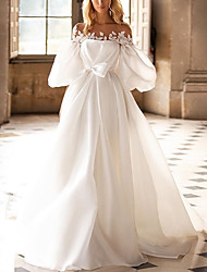 cheap -A-Line Off Shoulder Sweep / Brush Train Satin Half Sleeve Country Plus Size Wedding Dresses with Bow(s) / Draping / Appliques 2020