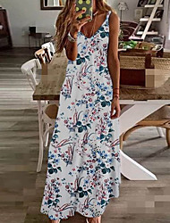cheap -Women's A-Line Dress Maxi long Dress - Sleeveless Floral Summer V Neck Plus Size Holiday Vacation Beach Wine Rainbow White Black Blue Yellow Fuchsia Green Navy Blue Green / White S M L XL XXL XXXL