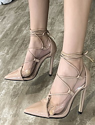 cheap -Women's Heels Transparent Shoes Stiletto Heel Pointed Toe PU Spring & Summer Almond / Black / Daily / 3-4