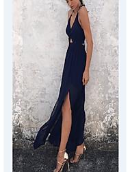 cheap -Women's A Line Dress - Floral Solid Color Blushing Pink Navy Blue Light Blue S M L XL