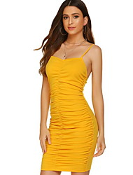 cheap -Women's Bodycon Dress - Solid Color Yellow XS S M L