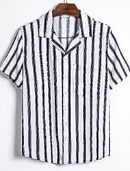 cheap -Men's Daily Basic Shirt - Striped Black & White, Print White