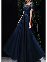 cheap -A-Line Illusion Neck Floor Length Tulle Empire / Blue Prom / Formal Evening Dress with Beading / Sequin 2020