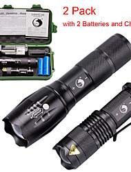 cheap -U'King 2 Pack LED Flashlights Torch Waterproof Zoomable 2000 lm LED Emitters 3 5 Mode with Batteries and Charger Waterproof Zoomable Portable Adjustable Focus for Emergency Camping Hiking Cycling Bike