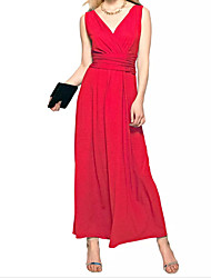 cheap -A-Line V Neck Floor Length Polyester Minimalist / Red Formal Evening / Party Wear Dress with Pleats 2020