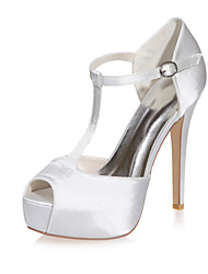 cheap -Women's Wedding Shoes Stiletto Heel Peep Toe Buckle Satin Minimalism Fall / Spring & Summer Black / White / Purple / Party & Evening