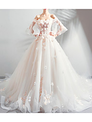 cheap -A-Line Wedding Dresses Off Shoulder Court Train Chiffon Tulle 3/4 Length Sleeve Formal Illusion Detail Plus Size with Draping Lace Insert Appliques 2020