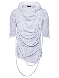 cheap -Men's Party Club Rock / Punk & Gothic T-shirt - Solid Colored White, Tassel Fringe Black