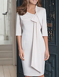 cheap -Sheath / Column V Neck Knee Length Polyester Half Sleeve Elegant Mother of the Bride Dress with Bow(s) 2020