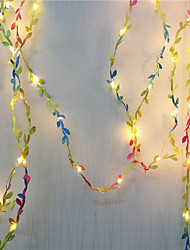 cheap -5M 50Leds Tiny Colorful Leaves Fairy Garland Light Led Copper Wire Flexible String Lights For Wedding Forest Table Christmas Home Party Decoration Warm White Lighting AA Battery Power
