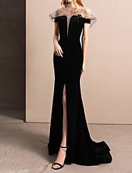 cheap -Mermaid / Trumpet Off Shoulder Sweep / Brush Train Tulle Short Sleeve Beach Black Wedding Dresses with Split Front 2020