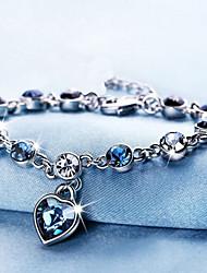 cheap -Women's Crystal Crystal Bracelet Classic Heart Sweet Cute Rhinestone Bracelet Jewelry Blue For Wedding Party