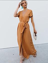 cheap -Women's Swing Dress - Solid Color Maxi Black Purple Yellow S M L XL