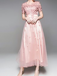 cheap -A-Line Jewel Neck Tea Length Lace Short Sleeve Elegant Mother of the Bride Dress with Lace / Embroidery 2020