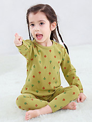 Недорогие -2 предмета Дети Дети (1-4 лет) Девочки Активный Классический Фантастические звери Цветочный принт Геометрический принт Контрастных цветов Монограмма Стильные Животная расцветка Пижамы Розовый