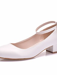 cheap -Women's Wedding Shoes Comfort Shoes Ankle Strap Heel Round Toe Sweet Minimalism Wedding Party & Evening Walking Shoes PU Solid Colored Summer White