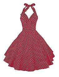 cheap -Women's A Line Dress - Polka Dot Black White Blue S M L XL