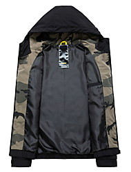 cheap -Men's Daily Fall & Winter Regular Jacket, Camo / Camouflage Hooded Long Sleeve Polyester Black / Gray