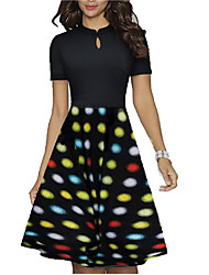cheap -Women's Black Dress A Line Polka Dot M L