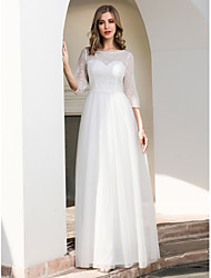 cheap -A-Line Jewel Neck Floor Length Lace / Tulle 3/4 Length Sleeve Formal / Romantic / Simple Made-To-Measure Wedding Dresses with Lace 2020