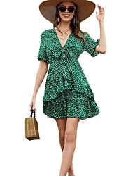 cheap -Women's A Line Dress - Polka Dot Green S M L XL