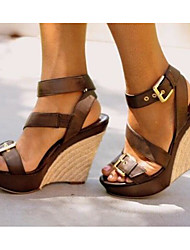 cheap -Women's Sandals Wedge Heel Round Toe PU Summer Brown / Black